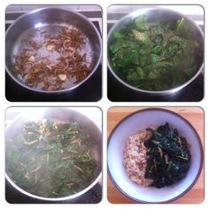 When cooked tender, #spinach has a mellow, flavour and texture and releases a sweet-savoury #gravy. Made this Asian-family staple, with £1 of the green stuff, with #garlic, #onion and #ikanbilis (#anchovy) seasoned with dried #rosemary and #salt for lunch, and eaten with steamed #brownrice. #asian #awesome #cook #cooking #food #food4gods #foodie #foodporn #healthy #lunch #musteat  #nutrition #tasty #yummy