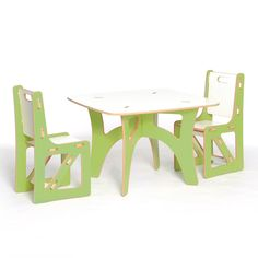 Have to have it. Sprout Childrens Table and 2 Chairs Set - Green and White - $179.95 @hayneedle