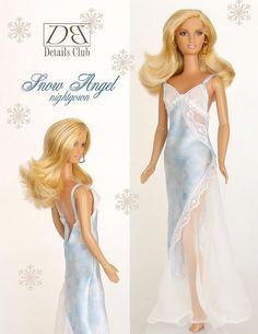 """Sewing pattern for 11 1/2"""" doll (Barbie): Snow Angel Nightgown"""