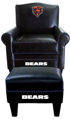 Attractive Chicago Bears Leather Game Time Chair And Ottoman