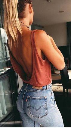 low back top. vintage denim.