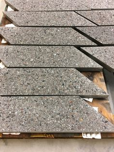 Tiles don't have to be smooth; Lazenby Pre-cast concrete can be cast in a variety of ways, smooth, textured, exposed aggregate, wood effect. Exposed Aggregate, Concrete Tiles, Polished Concrete, Stair Treads, Built In Storage, It Cast, Stairs, Smooth, Texture