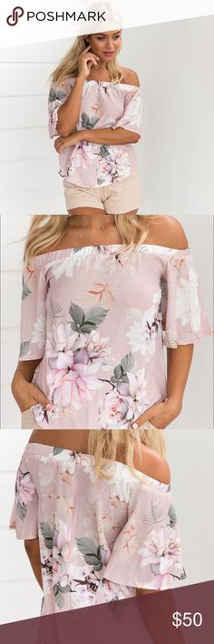 🆕 BLOSSOM Top // Blush DETAILS Blush tones with floral patterning Off the shoulder style with 3/4 bell sleeves Loose relaxed fit Slip on wear  MODEL INFORMATION  Model: Michaela   Dress Size: 8 (AU) Height: 174cm Bust: 86cm Waist: 66cm Hips: 89cm Shoe: Size 8 Mura Boutique Tops Blouses