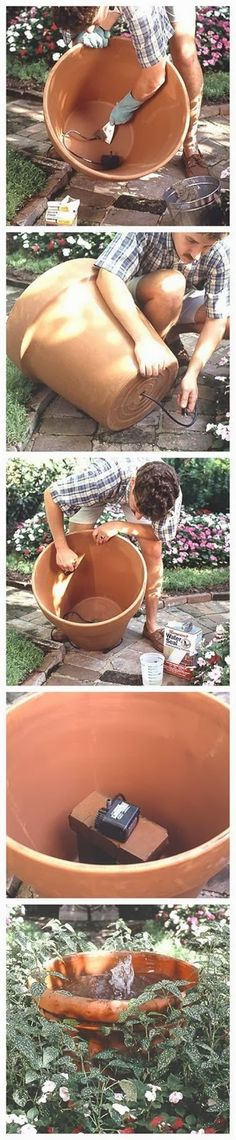wasserspiel garten What You Need: Container , 24 inches across or larger Pump and fountain Premixed quick-dry cement Liquid water sealant Bricks Outl. Diy Fountain, Garden Fountains, Yard Water Fountains, Garden Ponds, Garden Crafts, Garden Projects, Garden Ideas, Container Gardening, Gardening Tips