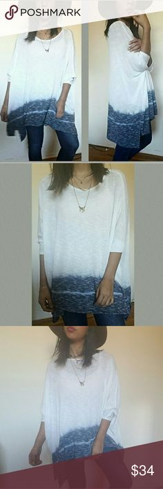 🎁BOGO🎁 TIE DYE SLUB KNIT OVERSIZED TOP I'm in love! This super chic slub knit top features an oversized look with 3/4 dolman sleeves. White with Blue tie dye hemline. Asymmetrical. It is sheer but I added a cami underneath but looks just a great without one too. Total babe must have . Fits TTS.   •Sizes available: S M l•  •Modeling Size Medium•   ●PRICE FIRM● Tops