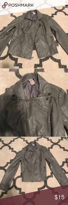 Pleather jacket by Britney candies line Candies Britney Spears gray pleather jacket with asymmetrical left side zip. Very cool great condition Candie's Jackets & Coats Utility Jackets