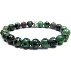 Zoisite wtih Ruby 8mm Round Crystal Bead Bracelet