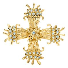 Tiffany & Co. Schlumberger Diamond Gold Cross   From a unique collection of vintage drop necklaces at https://www.1stdibs.com/jewelry/necklaces/drop-necklaces/