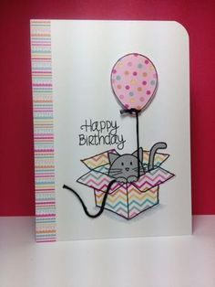 Furry Cat and Box, balloon dies: Simon Says Stamp, #SSSFAVE, paper piecing, by beesmom - Cards and Paper Crafts at Splitcoaststampers