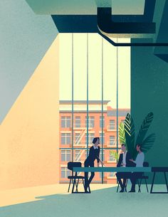 Illustrations of meetings and business travel