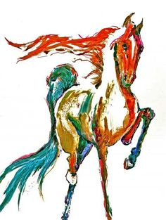 RED and BLUE GATTED Horse Watercolors prints 16x20 Signed by the Artist Carol Ratafia. $44.60, via Etsy.