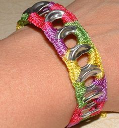 ReCycladelic Pop Top Bracelet, Pinwheel Bright, Pink Yellow Green Purple, Crochet tie-on, friendship bracelet