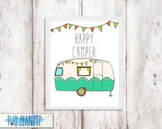 INSTANT DOWNLOAD Happy Camper printable art wall by TwoPeanutz Camping Theme, Camping Crafts, Camper Quotes, River Quotes, Printable Art, Printables, Classic Campers, Camper Signs, Art Calendar