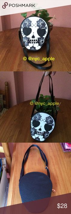 "❗️SALE❗️Sugar Skull Shoulder Bag Faux leather Day of the Dead bag / purse. Image on front of bag only. Adjustable strap. Zipper closure. No interior pockets. Gold paint detailing on skull. Approximately 8"" H x 6"" L, not including strap. Please ask if you have questions. Goth. Punk. Halloween. Costume. Cosplay. Unique. Festival. Rave. Bones. Skeleton. Bags Shoulder Bags"