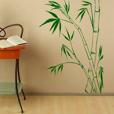 Nature Bamboo Leaves Wall Decals Stickers PVC Design Art Waterproof Wall Sticker Home Decor Removable $13.86
