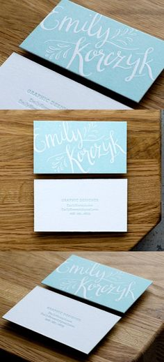 Graphic designer #business #card with elegant letterpress typography and blue & white color pallet.