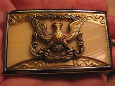 ANTIQUE Small Eagle Celluloid Background Maker Marked Belt Buckle MAKE AN OFFER $85.00 or Best Offer Free shipping