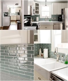 sea glass tile backsplash white kitchen | elongated hexagons