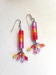 Crystal Earrings Glass Earrings Dangle Earrings Boho by BrickCity