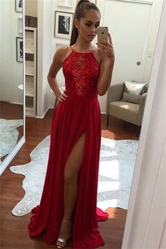 Beautiful A-line Long Red Lace Chiffon Modest Front Split Prom Dresses Z0356 #vintagepromdresses