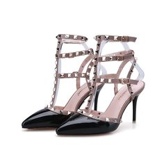 Janeyer® Pinkboll Studded Ankle Cuff Rivet High Heel Dress Date Sandal Shoes -- Click image for more details. (This is an affiliate link and I receive a commission for the sales)