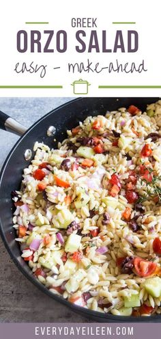 Greek Orzo Salad with homemade vinaigrette is ready in about 30 minutes. A great vegetarian salad to make ahead. Perfect for parties and family parties. Vary the salad by adding your favorite proteins such as chicken and shrimp. #greekorzosalad #orzosalad #greekpastasalad #everydayeileen Easy Salad Recipes, Chicken Salad Recipes, Easy Salads, Side Dish Recipes, Easy Dinner Recipes, Easy Meals, Healthy Recipes, Savory Salads, Ninja Recipes