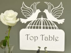 "Customised Laser Cut Wedding Table Name Cards - ""Devotion"" Doves Collection (Each)"
