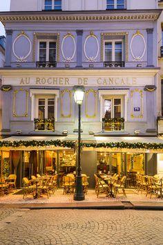 Paris Cafe - Au Rocher de Cancale  A wintery view of a classic Paris cafe on Rue Montorgueil