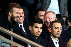 David Beckham and Sir Alex Ferguson were in attendance to watch Chelsea's round of 16 Champions League clash with PSG. The pair took up pride of place at the Parc des Princes. David Beckham Watch, The Beckham Family, Sir Alex Ferguson, Sports Fanatics, Jamel, Stamford Bridge, Old Trafford, Have A Laugh, Spice Girls