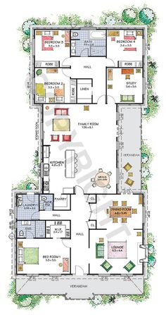 The Camden floor plan - Explore our virtual tours - Paal Kit Homes offer easy to build steel frame kit homes for the owner builder and have display / sale centres in Sydney NSW, Melbourne VIC, Brisbane QLD, Townsville NTH QLD, Perth WA. Sims House Plans, House Layout Plans, Family House Plans, Bedroom House Plans, New House Plans, Dream House Plans, Modern House Plans, House Layouts, House Floor Plans