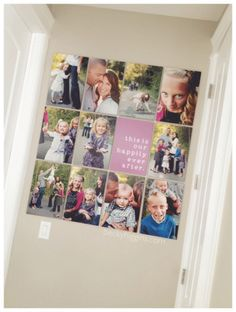 LOVE this family photo wall with the quote in the middle.  Totally going to do this!