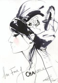 Me encanta esta pieza ilustración Chanel por el ilustrador David Downton