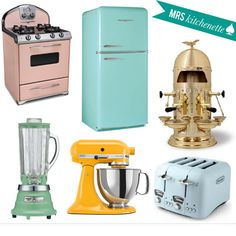 I <3 vintage style appliances  Need to have the stove, fridge and toaster!!!!!!!!!!!!!