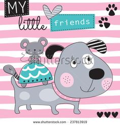 dog with mouse and turtle friends vector illustration