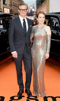 Colin Firth and Julianne Moore, who co-starred in A Single Man, looked stylish on the red carpet at the Kingsman's debut.