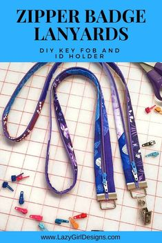 Turn your zipper into a lanyard. Make your own DIY key fob lanyard for a badge holder or ID holder. I make these for teacher gifts and to use scraps of fabrics. Learn Joan Hawley's One-Zip zipper installation and Easy-On trick for adding zipper pulls. Easy Sewing Projects, Diy Craft Projects, Sewing Hacks, Sewing Tutorials, Sewing Tips, Sewing Ideas, Sewing Crafts, Serger Sewing, Craft Ideas