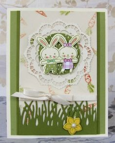 Bunny Pals by meisu4 with Stampin' Up Basket Bunch at Splitcoast Stampers ~ pretty frame from a doily!