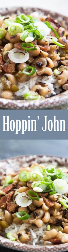 Hoppin' John! A classic Southern dish to celebrate New Year's. The black-eyed peas are for good fortune in the coming year.  On SimplyRecipes.com