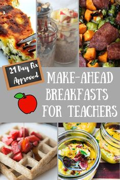 Recipes Breakfast 21 Day Fix This list of 21 Day Fix Make Ahead Breakfasts for Teachers is great for anyone who wants to plan and prepare a healthy breakfast for those busy weekday mornings! 21 Day Fix Meal Prep 21 Day Fix Breakfast, Teacher Breakfast, Detox Breakfast, Breakfast On The Go, Best Breakfast, Breakfast Ideas, Health Breakfast, Breakfast Recipes, Lunch Meal Prep