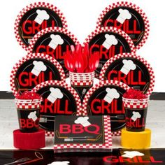 Keep the messes of a BBQ off the table and serve up some treats using the tableware from this party set. The items of the kit all share a black base coloring with red and white checkered patterns, giv