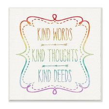 Kind Words Thoughts and Deeds Wall Plaque