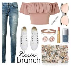 """#WhatToWear: #EasterWeekend  . . . Brunch"" by fabglance ❤ liked on Polyvore featuring Miss Selfridge, Yves Saint Laurent, Too Faced Cosmetics, Christian Dior, Converse, Accessorize and Dana Rebecca Designs"