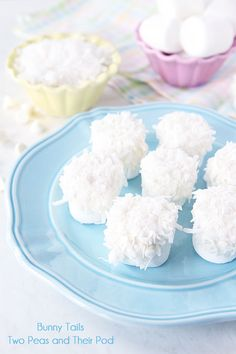 Easy Bunny Tails on www.twopeasandtheirpod.com Only 3 ingredients needed to make this fun Easter treat!