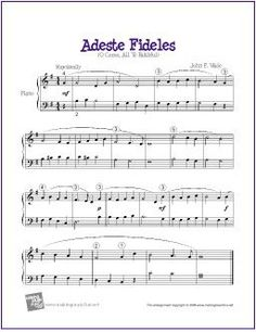 Adeste Fideles (O Come, All Ye Faithful) | | Free Sheet Music for Easy Piano - http://makingmusicfun.net/htm/f_printit_free_printable_sheet_music/adeste-fideles-piano-solo.htm