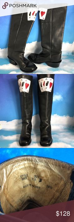 Black Leather Boots 4 Aces Quad Poker Shark Winner Mens Black Leather Boots 4 Aces Quad A's Winner, Poker Shark !!   Made in Mexico   Size Tag says:  7 .5 B Mens size   For a Woman's size conversion : about a 9 B  Good Overall PreOwned Condition except for Heel on Left Boot as shown in Photos  See Photos for more on Size & Condition to make your own informed decision...  Please let me answer any questions you may have... Thank You & Have a Great Day !!  ♥️♣️♦️♠️ Poker Shoes Boots On Shoes, Shoe Boots, Walk This Way, Black Leather Boots, Quad, Poker, Cowboy Boots, Shark, Mexico