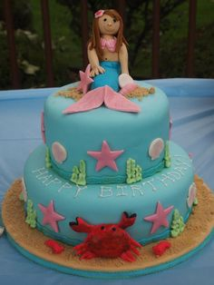 Mermaid Cake #undertheseacake #mermaidcake #gumpastemermaid