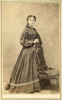1860s CIVIL WAR ERA FASHION LADY TAX STAMP STANDING WOMAN DRESS CDV PHOTO 14