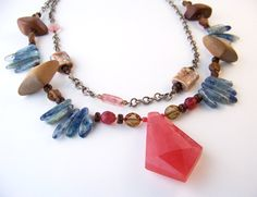 New Boho Pendant Necklace with Ceramic Art Beads, Blue Kyanite and Pink Quartz for your Unique Artisan Style. Layered Necklace