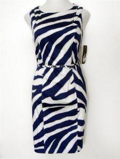 Nine West Dress Size 14 Navy Blue White Zebra Print Cotton Sheath Belt NWT  White Zebra 6fa1fdb8d