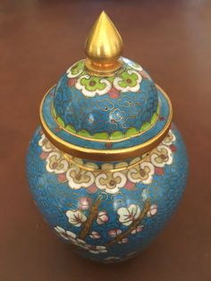 ac3973d007e6 Japanese Ginger Jar Urn with Lid Blue and Gold Cloisonné Cherry Blossoms  Vintage Enamel Brass 6
